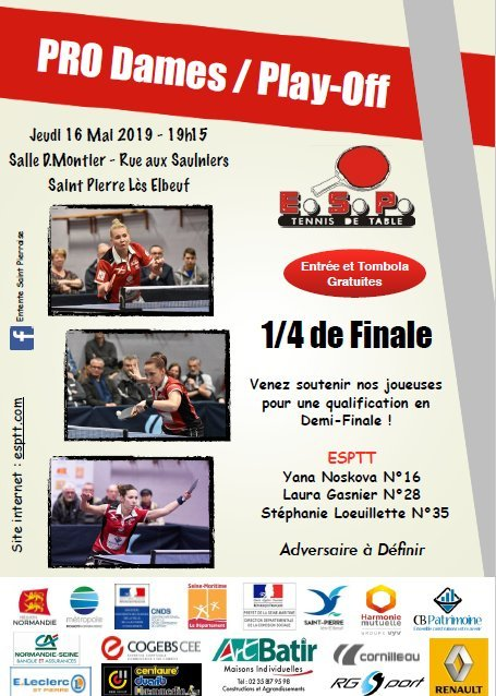 Pro Dames Play Off : 1/4 de finale à domicile